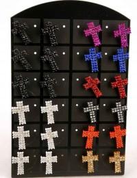 E050-Présentoir 12 paires de B.O croix