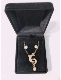 N1382-parure collier pendentif lune